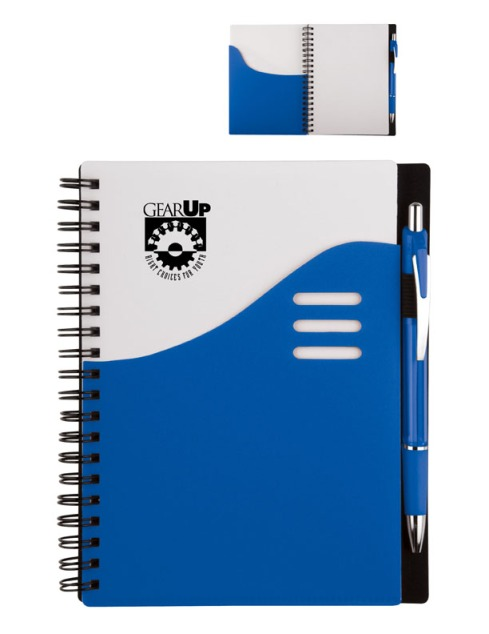 Color Wave Notebook – 2013 discount pricing with one color imprint $2.49 / 200 unit minimum. Can be run with any TRiO or program artwork. Stock colors: Blue, Red, Orange, Pink, Black, Green, Purple, Carolina Blue.