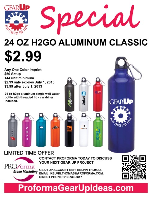 24 oz h2go aluminum single wall water bottle with threaded lid - carabiner included.