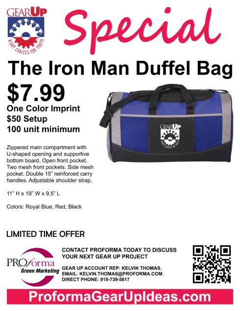 """Zippered main compartment with U-shaped opening and supportive bottom board. Open front pocket. Two mesh front pockets. Side mesh pocket. Double 15"""" reinforced carry handles. Adjustable shoulder strap. Sports Bottle (New Item SM-6850) and accessories not included."""