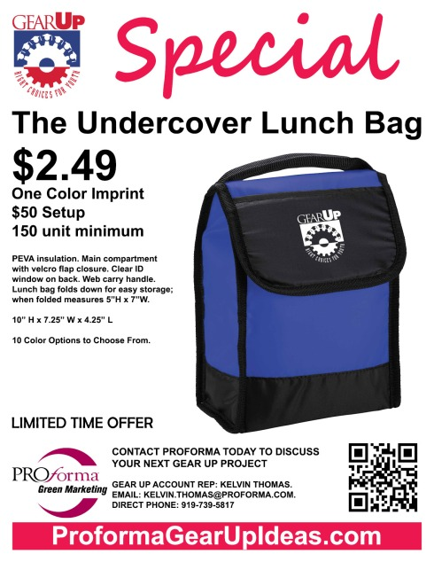 """PEVA insulation. Main compartment with velcro flap closure. Clear ID window on back. Web carry handle. Lunch bag folds down for easy storage; when folded measures 5""""H x 7""""W."""