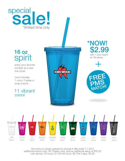 16 oz acrylic double wall tumbler with threaded lid and matching straw. On sale ‑ expires September 30, 2013