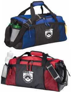 This Team bag offers an end mesh pocket, side pocket, shoulder strap, front zip pocket, and more! Made of 70D ripstop nylon and 600D polyester, both with PVC backing.