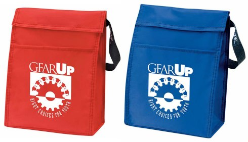 "A lunchroom staple, the KOOZIE® Lunch Sack is insulated to keep your food colder longer. 15"" carry strap. Hook-and-loop closure. Front slip pocket for additional storage."
