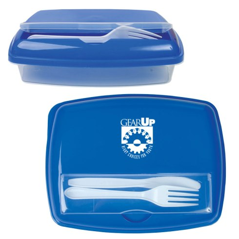 Food storage container with case made of Polypropylene plastic. Features 1 base component with 3 sub sections for food and condiments. Top utensil compartment. Disposable plastic knife and fork included, inserted in top compartment.