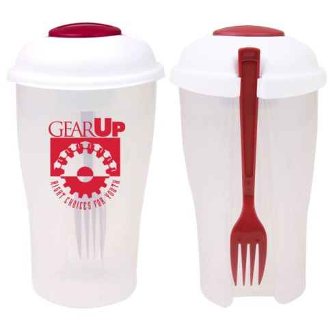 Durable 3-piece salad shaker set serves both as a lunch box and salad shaker imprint on side. Includes large main compartment, small compartment for milk, dressing or other condiments that easily sits and stores in lid and fork with side storage slot.