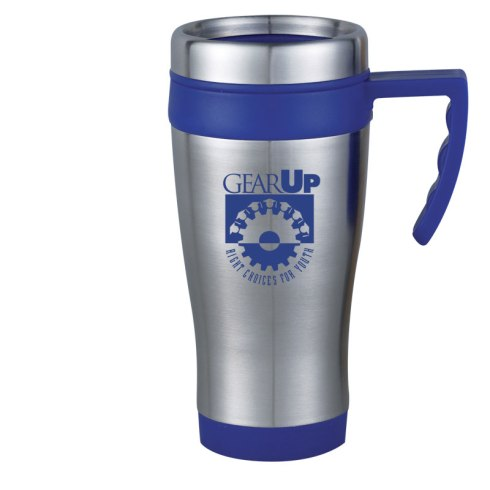 Classic 16 oz. travel mug with stainless steel exterior and BPA-Free plastic interior. Features accent-colored comfort grip handle, non-skid base and spill proof thumb slide lid. Fits most automobile cup holders.