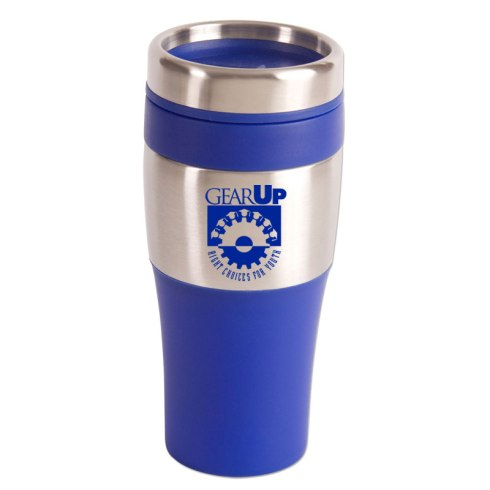 16 oz. insulated tumbler with stainless steel exterior and BPA-Free plastic interior . Features matching color non-skid bottom, PVC grip and a spill proof thumb slide plastic lid. Fits most automobile cup holders.