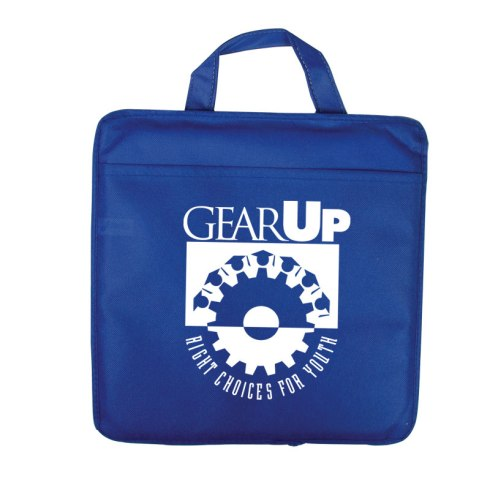 "Reusable stadium cushion with front pocket and reinforced 9.4""L carry-handle. Made of water resistant 80 GSM nonwoven polypropylene. Features foam padding for comfort. Available in a range of team and school colors."
