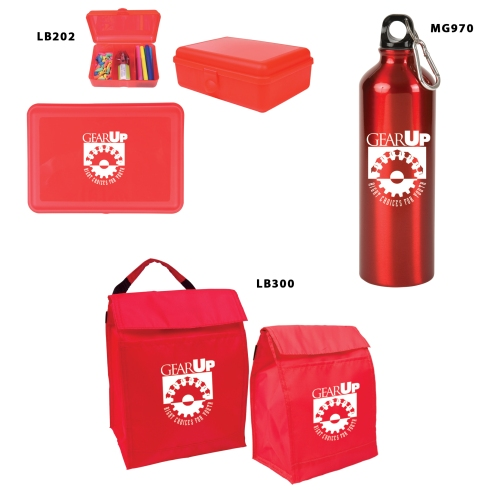 25 oz. Aluminum Alpine Bottle, Utility Box Lunch/Storage/School Supplies), Insulated Lunch Bag. One color imprint on all. Total under $9.