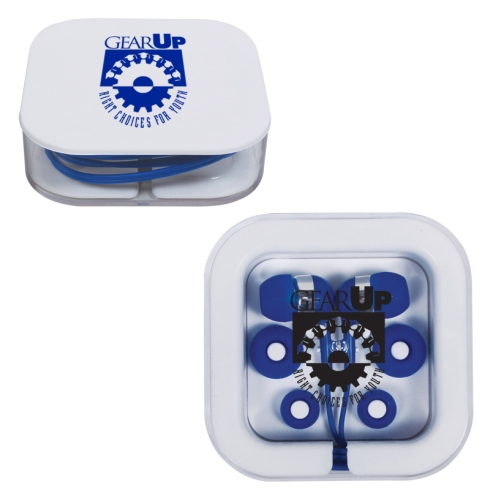 Earbuds in Square Case. Imprint on the case. $2.75 per unit. Min 100 units. 5 color options.