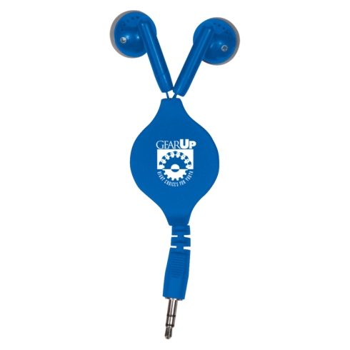 Retractable Ear Buds. Imprint on Ear Buds. $2.29 per unit. Min order 100 units. 5 color options.