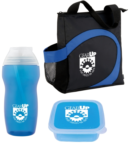 KOOZIE® Swirl Lunch Tote, Illusion Sport Bottle - 35 oz.,  and Sandwich Box. Total under $10.