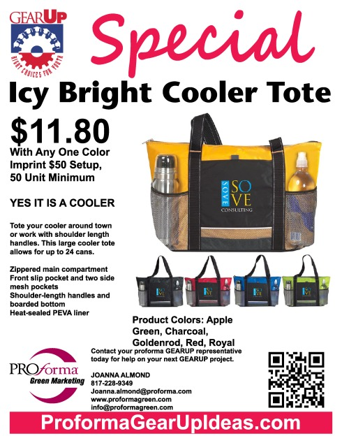 Tote your cooler around town or work with shoulder length handles. This large cooler tote allows for up to 24 cans.