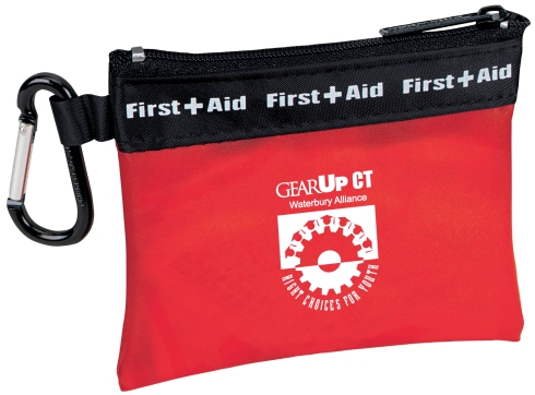 This convenient first aid kit comes complete with a handy carabiner, so it can travel with you wherever you go! Frosty first aid bag with carabiner attached Latex-free bandages.