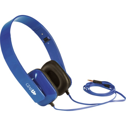 Use with any standard audio device. Folding headband with deluxe padded on-ear headphones. 3.5mm audio jack 47-1/2 inch cable. Blue shown with one color imprint.
