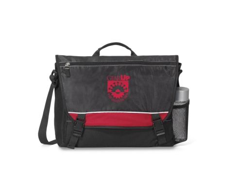 "Multi-function organizer under front flap Buckle closures Front zippered pocket Side mesh water bottle pocket Side zippered pocket sized to fit a tablet with a case (fits all tablets) Large main compartment with interior padded laptop pocket (fits up to a 15"" laptop) Adjustable shoulder strap Padded grab handle"