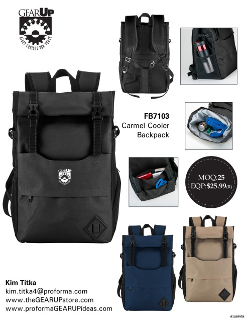 600D Roll Top Cooler Backpack. Features A Leak Resistant And Heat Sealed Peva Insulated Interior; Open Front Compartment With Mesh Organizational Pockets; Front Zippered Compartment; Mesh Side Pocket For Bottles; Zippered Side Pocket; Compression Straps; A Roll Top Lid With Snap Buttons And Buckle Closure; And Padded Adjustable Straps With Sternum Strap. - See more at: http://www.swedausa.com/en_us/product/carmel-cooler-backpack-0#sthash.kosP7EDQ.dpuf
