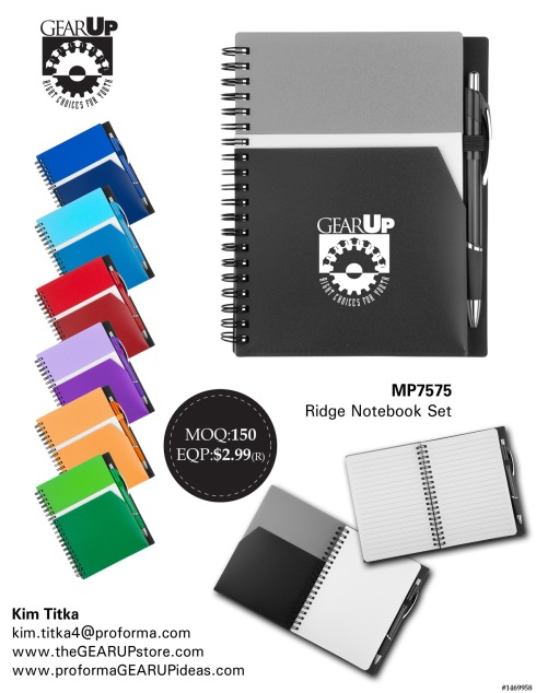 Tonal Pp Front Cover With Double Outside Pocket With White Contrast And One Inside Pocket. Black Back Cover. Spiral Bound Notebook With Color Accent Elastic Pen Holder And 70 Lined Sheets. Paired With A Matching Colored Aruba Ballpoint Pen.