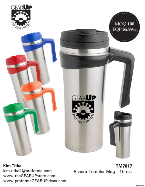 16 Oz. Double Wall (Stainless Steel Outer And Polypropylene Inner) Tumbler With Removable Handle. Flip Snap Threaded Lid With Rubber Gasket For Spill Prevention And Non-Skid Pad On Bottom. Double Wall With Slim Taper; Fits In Standard Cup Holders. Good For Hot And Cold Beverages.